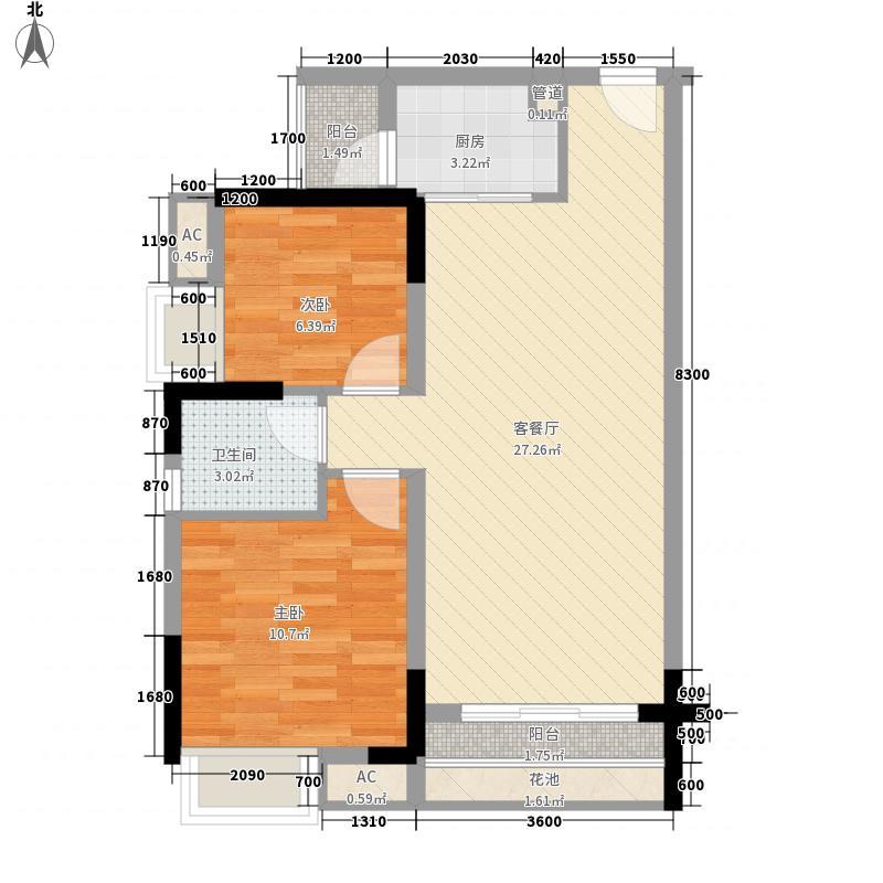 新里城户型图1栋1-2单元03、04标准层A2户型 2室2厅1卫1厨