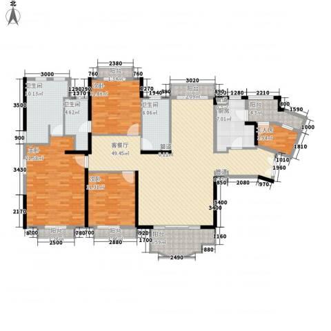 保利林语山庄3室1厅3卫1厨168.00㎡户型图