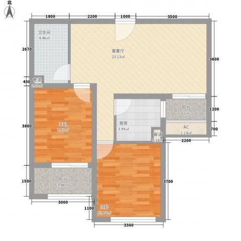 中央名邸2室1厅1卫1厨86.00㎡户型图