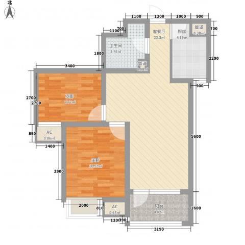 亿科公元20102室1厅1卫1厨85.00㎡户型图