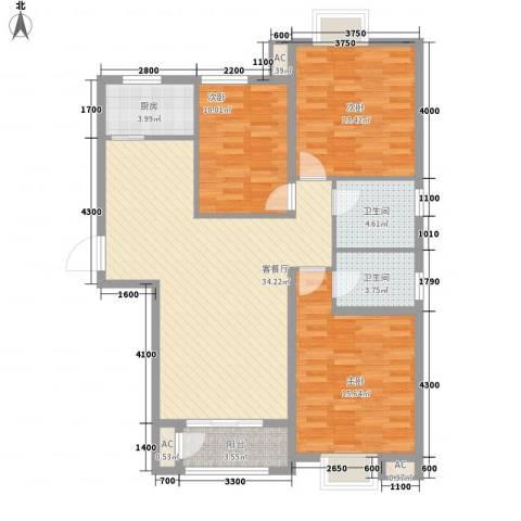 中央名邸3室1厅2卫1厨127.00㎡户型图