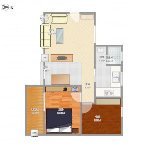 石榴园2室1厅1卫1厨75.00㎡户型图