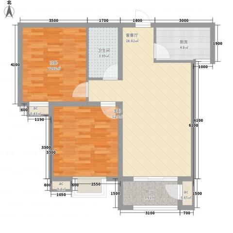 中央名邸2室1厅1卫1厨65.00㎡户型图
