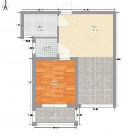 第一街区傲湖1室1厅1卫1厨60.00㎡户型图