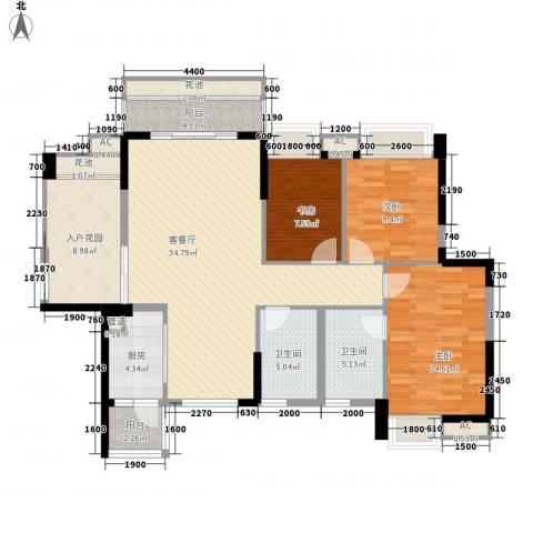 江南第一城3室1厅2卫1厨119.00㎡户型图