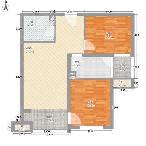 中央名邸2室1厅1卫1厨85.00㎡户型图