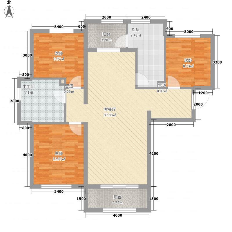 龙湾国际A户型3室2厅1卫1厨