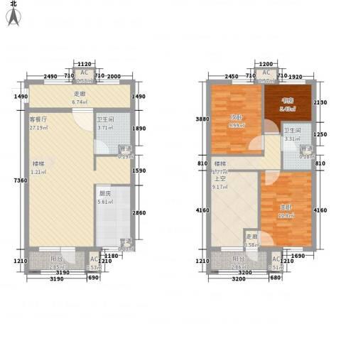 亿科公元20103室1厅2卫1厨94.43㎡户型图