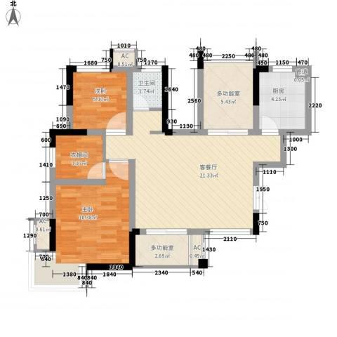 国信龙湖世家2室1厅1卫1厨83.00㎡户型图