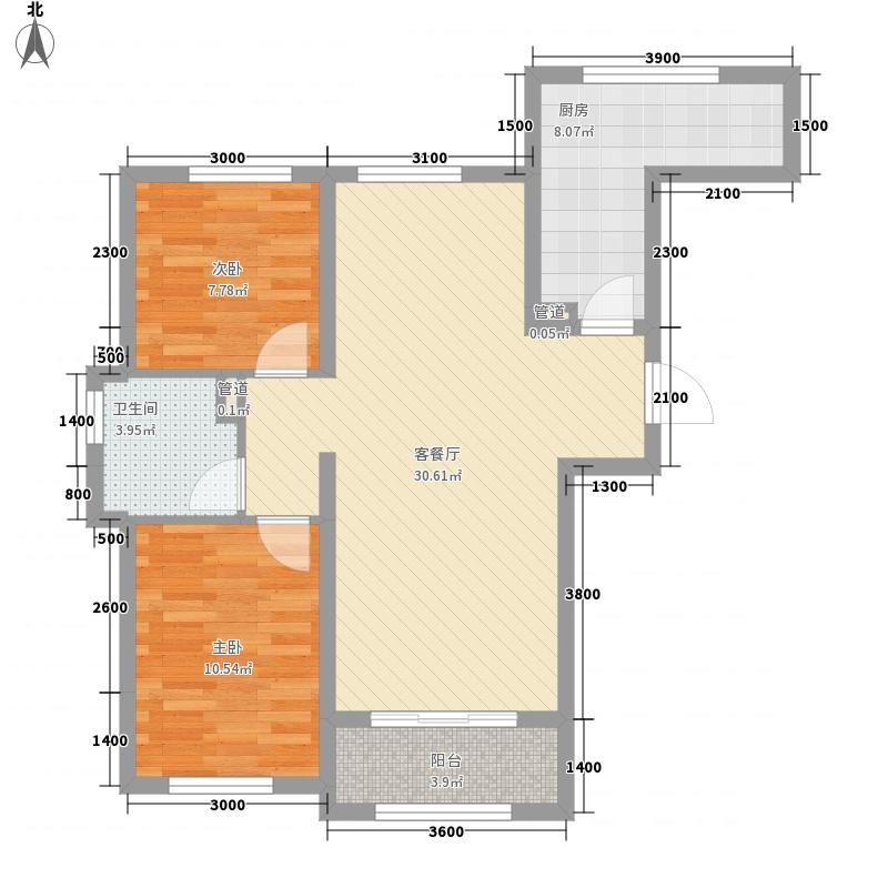 龙湾国际87.75㎡G户型2室2厅1卫1厨