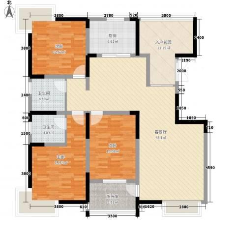 曲江观邸3室1厅2卫1厨144.00㎡户型图