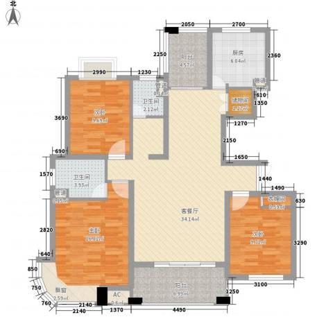 九溪江南3室1厅2卫1厨140.00㎡户型图