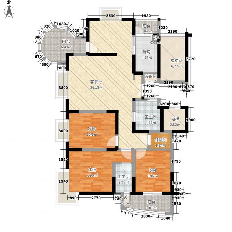 锦都花园154.46㎡J1户型3室2厅2卫1厨