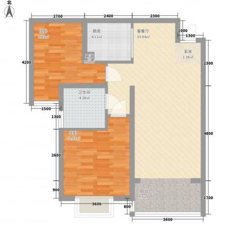 金厦广场2室1厅1卫1厨98.00㎡户型图