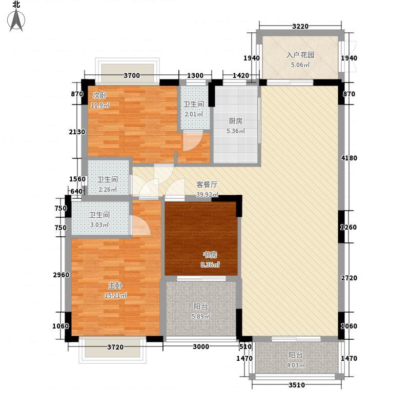 中恒广场128.00㎡2幢03单位户型3室2厅3卫1厨