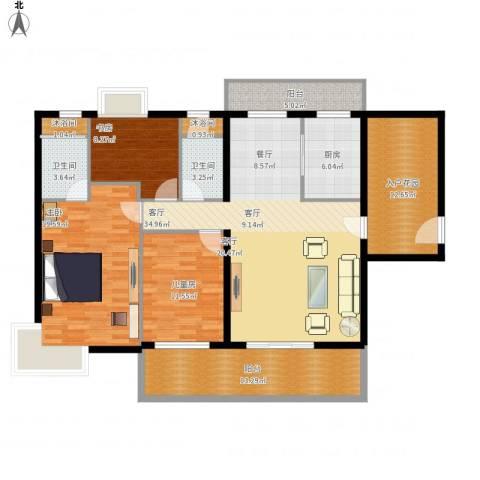 亿泉尚园3室1厅2卫1厨169.00㎡户型图