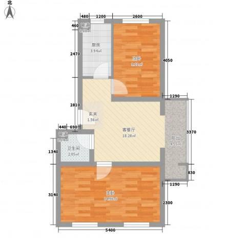 健康新城2室1厅1卫1厨71.00㎡户型图
