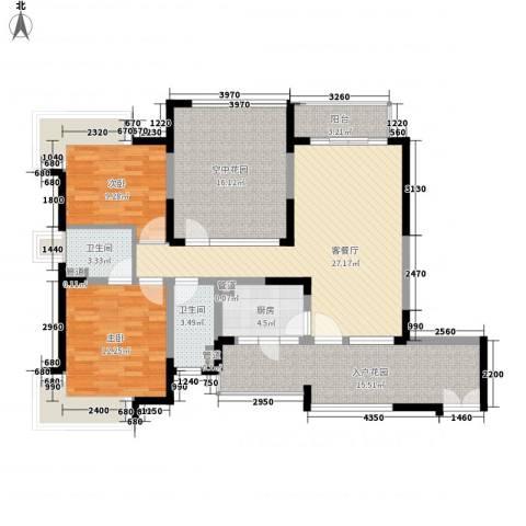 新世纪星城三期2室1厅2卫1厨109.00㎡户型图