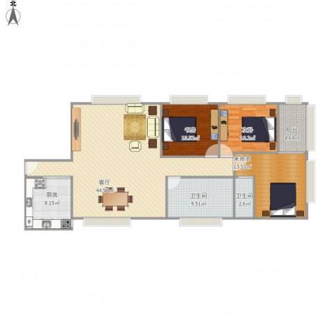 莲花广场2室1厅2卫1厨139.00㎡户型图