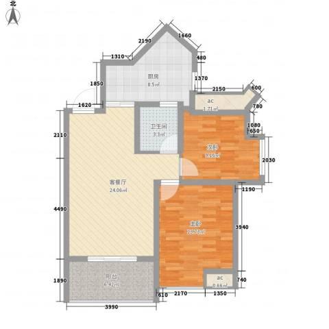 永鸿厦门湾1号2室1厅1卫1厨78.00㎡户型图