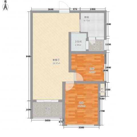 永鸿厦门湾1号2室1厅1卫1厨72.00㎡户型图