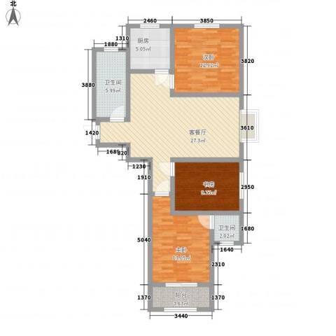 第一街区傲湖3室1厅2卫1厨115.00㎡户型图