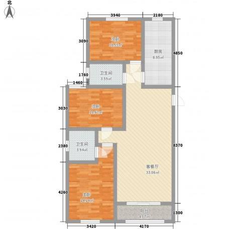 第一街区傲湖3室1厅2卫1厨128.00㎡户型图