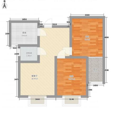 第一街区傲湖2室1厅1卫1厨79.00㎡户型图