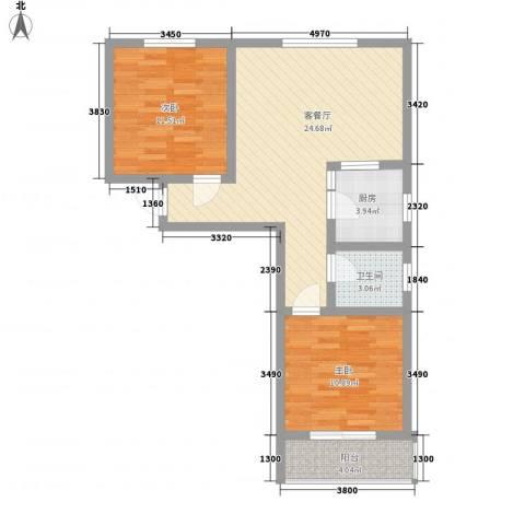 第一街区傲湖2室1厅1卫1厨88.00㎡户型图