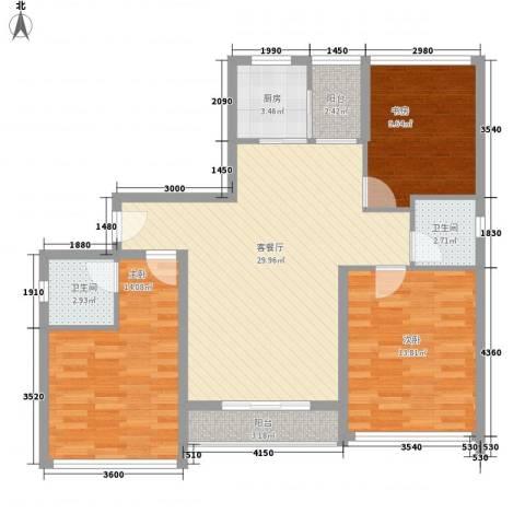 宝安椰林湾3室1厅2卫1厨105.00㎡户型图