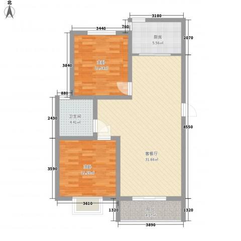 第一街区傲湖2室1厅1卫1厨99.00㎡户型图