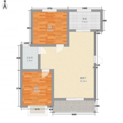 第一街区傲湖2室1厅1卫1厨95.00㎡户型图