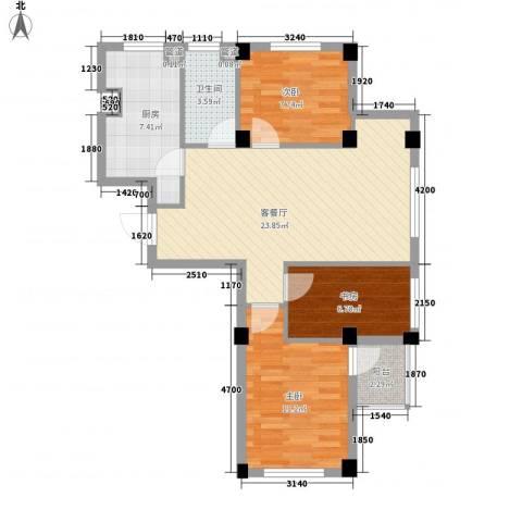 万晟宜家大院3室1厅1卫1厨91.00㎡户型图