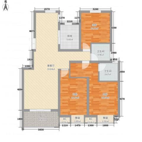 国信龙湖世家3室1厅2卫1厨133.00㎡户型图