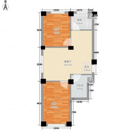 万晟宜家大院2室1厅1卫1厨71.00㎡户型图