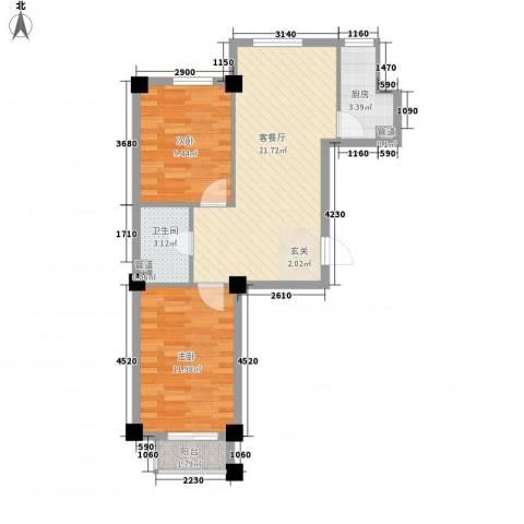 万晟宜家大院2室1厅1卫1厨73.00㎡户型图
