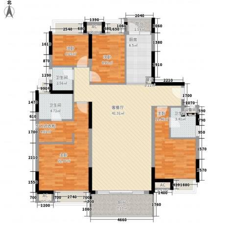 万科金色家园4室1厅3卫1厨165.00㎡户型图