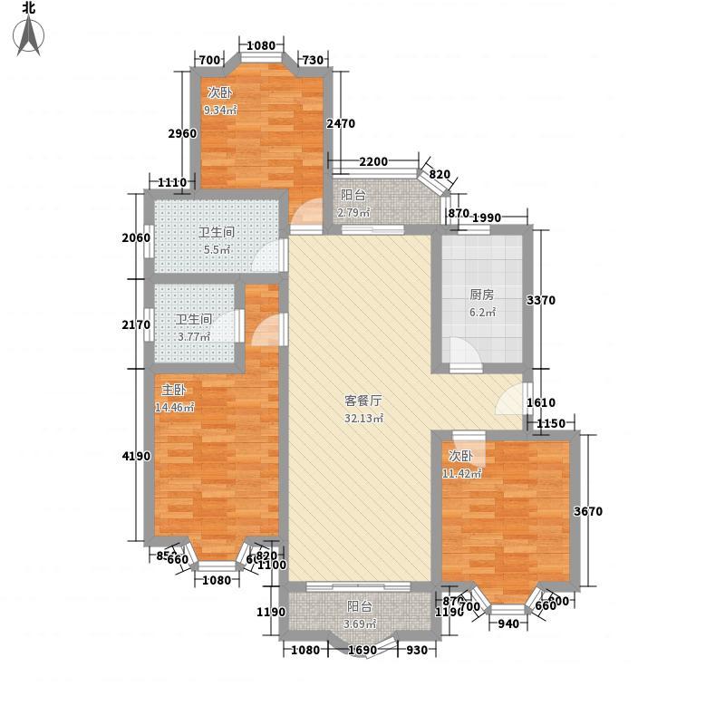 虹康花苑二期131.00㎡虹康花苑二期户型图3室2厅1卫1厨户型10室