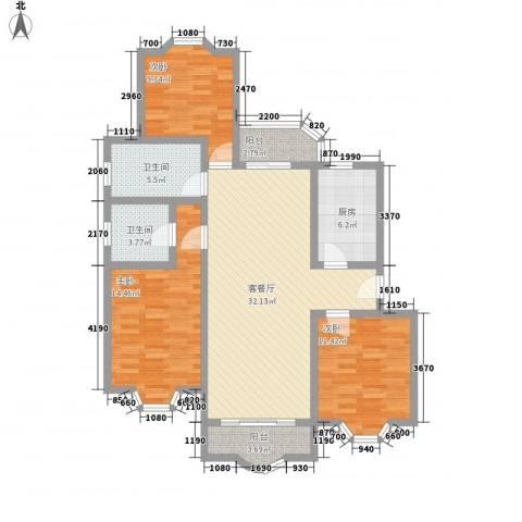 虹康花苑二期3室1厅2卫1厨131.00㎡户型图