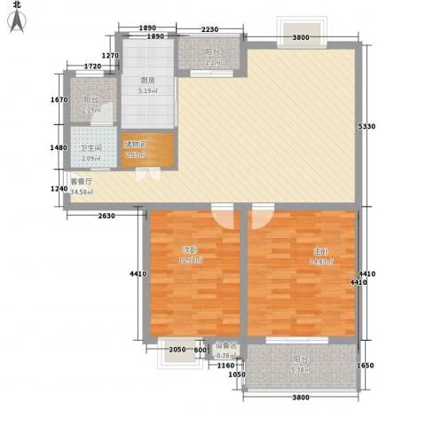 久地雅苑2室1厅1卫1厨112.00㎡户型图