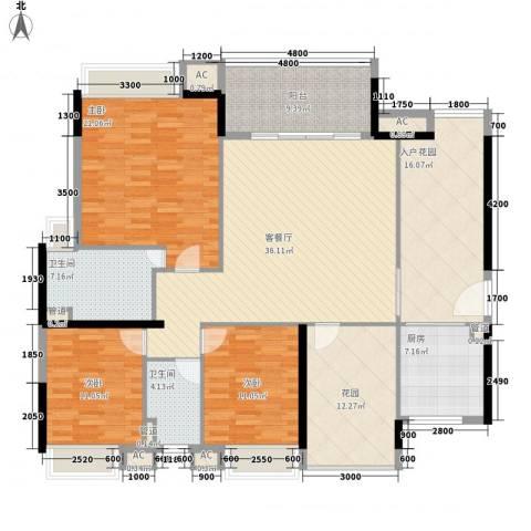 万科金色家园3室1厅2卫1厨154.00㎡户型图