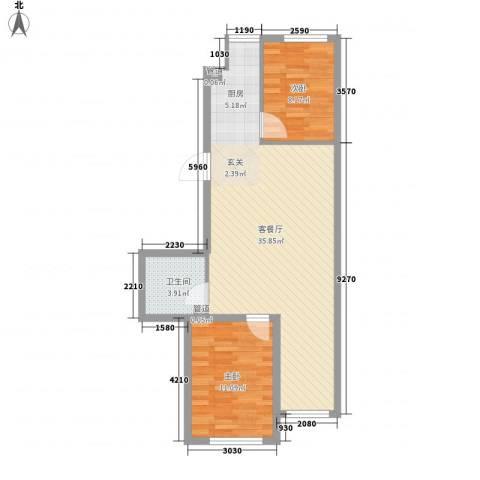 万晟宜家大院2室1厅1卫0厨83.00㎡户型图