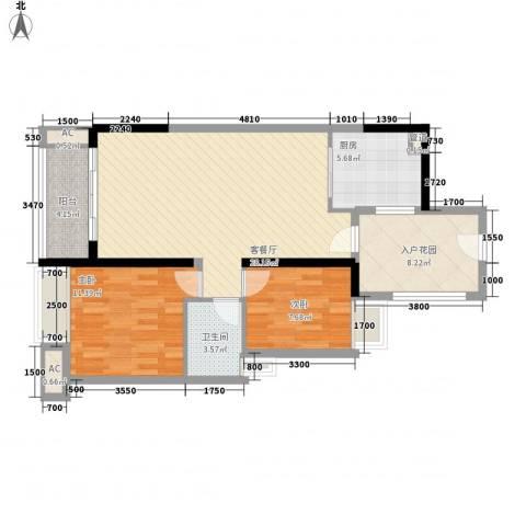 万科金色家园2室1厅1卫1厨89.00㎡户型图