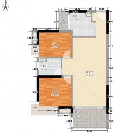 万科金色家园2室1厅1卫1厨90.00㎡户型图