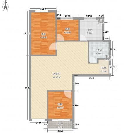 万晟宜家大院3室1厅1卫1厨115.00㎡户型图