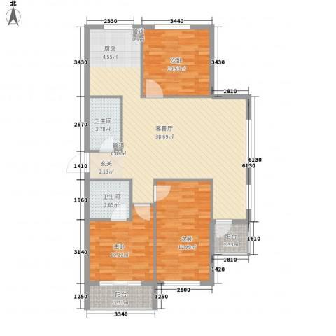 万晟宜家大院3室1厅2卫0厨116.00㎡户型图