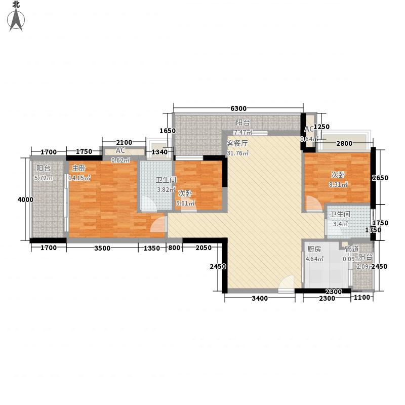 万科金色家园108.00㎡万科金色家园户型图盈翠园1座(01单元)3室2厅2卫户型3室2厅2卫