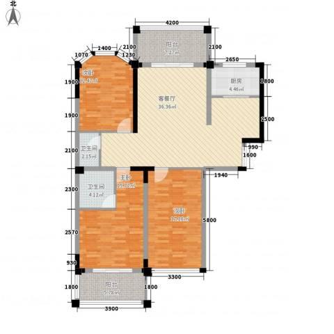 长房西郡3室1厅2卫1厨128.00㎡户型图
