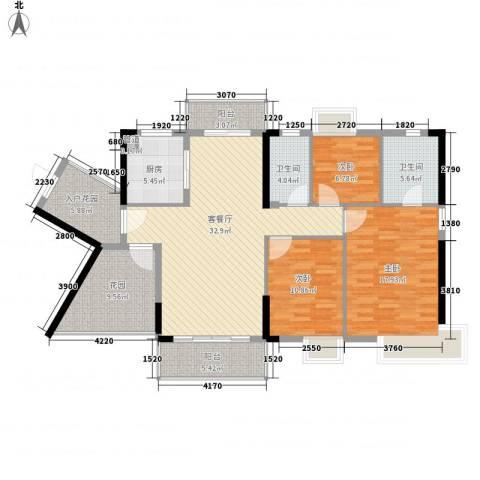富盈御荷3室1厅2卫1厨121.29㎡户型图