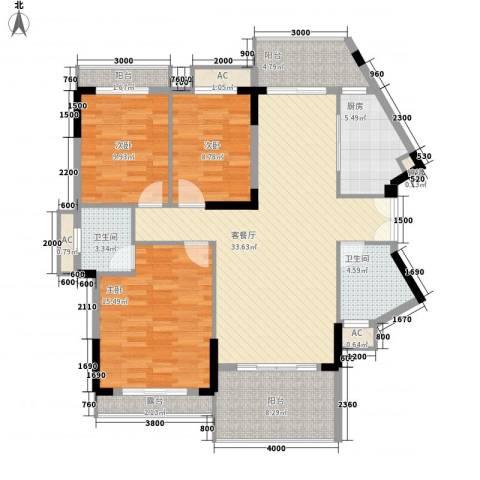 长沙玫瑰园3室1厅2卫1厨125.00㎡户型图